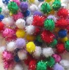 TINSEL/GLITTER  CRAFT POM POMS - MIXED COLOURS - VARIOUS SIZES AND QUANTAITIES