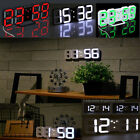 Digital LED 3D Desk Table Night Time Wall Clock 24/12 Alarm Snooze Auto Dimming