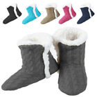 Внешний вид - Yelete Women's Cable Knit Slippers House Booties Soft Sherpa Lining Rubber Soles