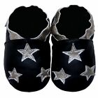Free shipping Newborn Prewalker Soft Sole Leather Baby Shoes Stars Black 0-5 yrs