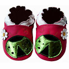 Freeshipping Newborn Infant Soft Sole Leather Baby Shoes Ladybug Fucshia 0-5 yrs