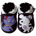 Free shipping Prewalker Soft Sole Leather Baby Shoes Cat&Mouse Purple 0-5 yrs