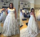 White/Ivory Lace Wedding Dresses Bridal Gown Custom Plus Size 18 20 22 24 26 A15