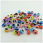 50PCS 7MM MULTI - COLOURED ACRYLIC EVIL EYE OVAL BEADS FOR JEWELLERY MAKING