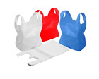 PLASTIC VEST CARRIER BAGS BLUE OR WHITE Medium Size 100 bags