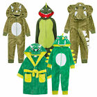 Boys 3D Dinosaur Hooded Dressing Gown Onezie Bath Robe Dino Onezee Dress Up Gift