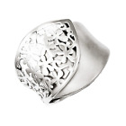 925 Sterling Silver Flower Overlay Wrap Ring