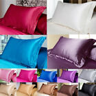 NEW Solid Queen/Standard Silk~y Satin Pillow Case Bedding Pillowcase Smooth Home image