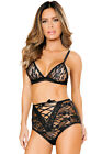 Black lace bralette bra and high waisted panty garter straps Size 8 10 12