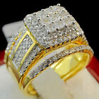 Yellow Gold Over Princess Diamond Engagement Ring Ladies Wedding Bridal Set