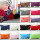 NEW Solid Queen/Standard Cotton Pillow Case Bedding Pillowcase Smooth Home Gift image