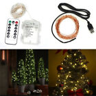 10M 100LED Battery USB Sliver Wire String Fairy Lights Xmas Remote Control
