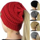 Women's Girl Stretch Knit Hat Messy Bun Ponytail Beanie Holey Warm Hats Winter A