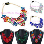 Fashion Gold Chain Acrylic Crystal Charm Collar Statement Pendant Bib Necklace