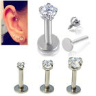 "1x16G 1/4"" Clear 3mm CZ Round Tragus Lip Monroe Ear Triple Cartilage Helix Stud"