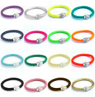Women Unisex Wrap Wristband Cuff Punk Magnetic Rhinestone Buckle Bracelet Bangle