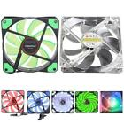 120mm 3-4Pin 15 LED 12V Light Neon Quite Clear Computer Laptop Cooling Case Fan