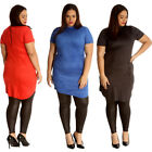 New Womens Plus Size Tunic Ladies Suede Top Turtle Polo Neck Dress Soft Party