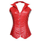 Body Building Faux Leather Bust Spiral Steel Bone Gothic Halter Collar Corsets