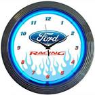 Ford Racing Neon Clock 15 Inch Blue Red White Ford Car Logo Game Room Business