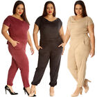 New Womens Jumpsuit Plus Size Ladies Suede All in One Cowl Neck Full Length Warm