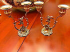 Antique Candle Holders featuring Small Putto Leaping Angels w Wings, Cast Metal