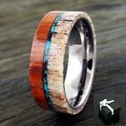 8mm Tungsten Men's Ring Deer Antler, Turquoise, & SandalWood Wedding Band