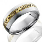 COBALT CHROME DOMED BAND WITH 3MM YELLOW GOLD AND SHAKUDO MOKUME INLAY