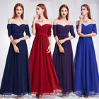UK Women's Off-shoulder Prom Party Bridesmaid Wedding Maxi Evening Dress 07411