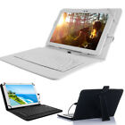 """US 32GB 10.1"""" Tablet PC Android 5.0 Quad-core HD Wifi GPS Leather Keyboard Case"""