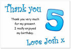 tc 10 Personalised Thank you CARDS & envelopes, thanks birthday age 5 party boy