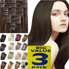 SUPER 3 PACK DEAL Natural Long Full Head Hair Extensions 8 Pieces