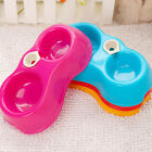 Plastic Double Food Water Pet Fedding Bowl Non Slip Dog Puppy Cat Feed Dish