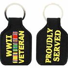 WWII WORLD WAR TWO 2 VETERAN PROUDLY SERVED CAMPAIGN RIBBONS KEY CHAIN