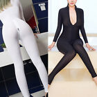 Women Striped Sheer Bodysuit Catsuit Zipper Long Sleeve Open Crotch Jumpsuit