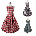 Women's 1950s 60s Vintage Rockabilly Swing Dresses Retro Plaid Cocktail Party