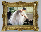 Beautiful Painting Picture Ballerina Ballet with Frame Baroque Antique Repro