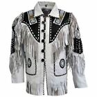 Mens White Western Wear Cowboy Style Suede Leather Jacket Handmade Vintage Wear