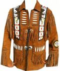 Mens Western Wear Fringe Style Suede Leather Jacket Beads  Vintage Wear Jacket