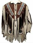 Mens Western Wear  Suede Leather Jacket Handmade Beads Vintage Wear Jacket