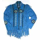 Mens Western Wear Beads  Suede Leather Jacket Handmade Vintage Wear Jacket