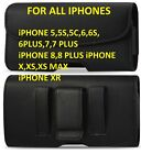 Black Leather Horizontal Holster Belt Clip Belt Loop Pouch Case for all iPhone