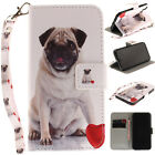 Pug Painting PU Stand Case Wallet Cover For Android Phone iPhone 5 6 7 8 Plus X