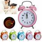 Retro Silent Double Bell Alarm Clock Concise Quartz Movement Bedside Night Light
