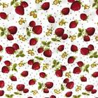 100% Cotton Fabric Print White with Strawberries 115cm wide sold by metre