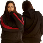 New Womens Plus Size Jacket Ladies Hooded Side Stripe Cuffed Soft Track Quality