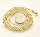 2.3mm Moon Cut Ball Bead Chain Necklace Solid 14K Yellow Gold Clad 925 Silver