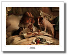 Girl Prays In Bed As Dog & Kitten Watch Charles B.Barber Wall Art Print Picture