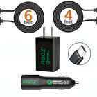 Qualcomm 3.0 Certified Quick Fast Home + Car Charger With Type-C USB Cables
