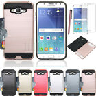 Card Pocket Shockproof Rubber Hybrid Hard Case Cover For Samsung Galaxy J7 Neo